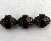 Czech Glass Beads Turbine, Black Picasso, 11x10 MM 6-Pieces C237
