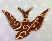 Swooping Bird Pendant Embossed Vintaj Brass E61