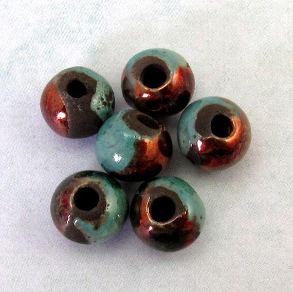 Mykonos Greek Ceramic Round Beads 6 mm Raku Frosted Copper 6-Pieces M134