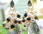 18k gold vermeil black diamond keishi pearls rutilated quartz briolette earrings