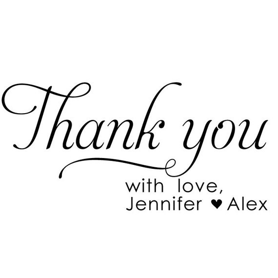 Wedding Thank You Stamp - Favor Stamp - Jennifer and Alex Design