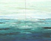Ocean painting textured diptych modern seascape 36 x 48 Marems made to order number 17