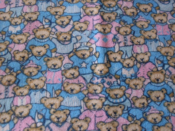 Pink and Blue baby bear flannel Cotton Fabric - 1 Yard b1