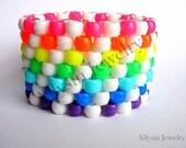 Rainbow, White Kandi Cuff, Neon Bracelet, Raver Plur,  Diagonal Pattern