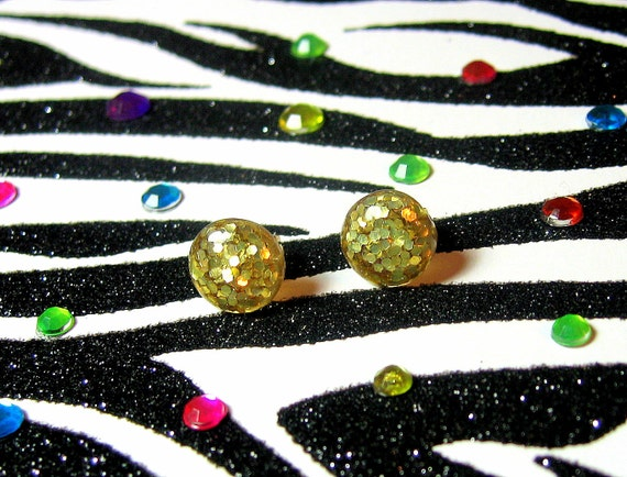 Gold Glitter Earrings, Studs, Round, Resin Jewelry