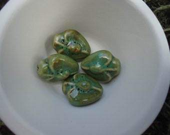 Light Honey and Pale Green Puff Vase Bead