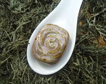 Mauve Rose Pendant Bead