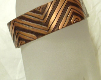 Vintage German Cuff Bracelet - Signed Echt Kupfer Hand Arbeit - Handmade Copper - Clover shape - Geometric Abstract Modernist - Black Enamel