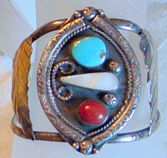 RESERVED Southwest Turquoise Bracelet With Coral And MOP -2.5 Inches Tall - Sterling Silver Cuff  - Taxco Silver In Turquoise - Handmade
