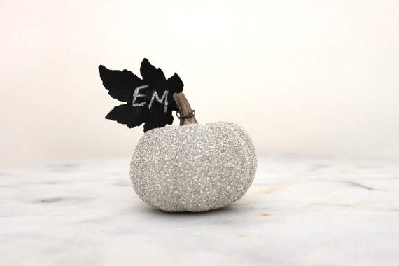Glittered Pumpkin Seating Cards / Place/Name Cards with Chalkboard Leaf - Collection of 8