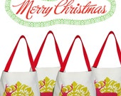 SET of  5  :   Christmas Canvas Goody bags