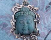 Chrysocolla Buddha Sterling Silver Pendant