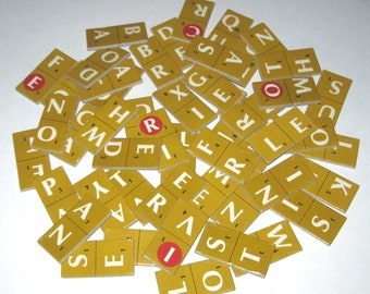 Vintage 1970s Scrabble Crossword Dominoes Double Sided Letter Tiles or Game Pieces Set of 49