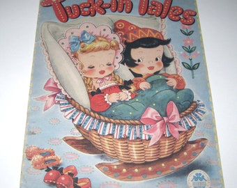 Tuck In Tales Vintage 1940s Over Sized Children's Textured Book by Merrill