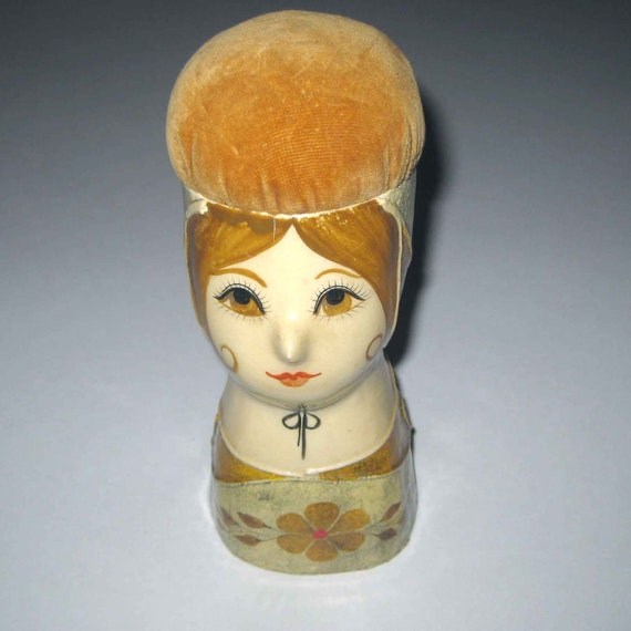 Vintage Paper Mache Woman with Pin Cushion Head