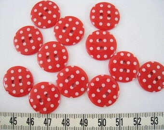 28pcs of  Bright Red  Polka Dot  Button - 18mm