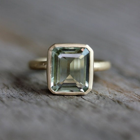 Emerald Cut Green Amethyst Ring Prasiolite Ring In Recycled