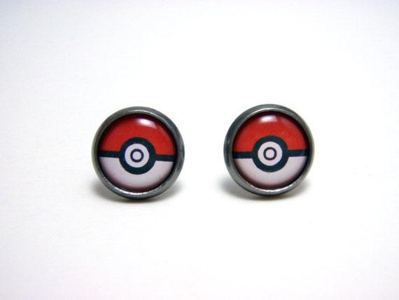 Pokemon Pokeball Studs - Tiny red and white pokemaster pokeball post earrings SMALL - Geekery Geek Chic Gamer