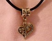 Tibetan Silver Heart Necklace with Satin Cord