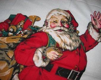 Vintage X-Mas sewing craft Santa Claus Fabric, Retro style Kris Kringle, Bag of Toys, Father Christmas  nostalgic  Arts & Crafts Holiday