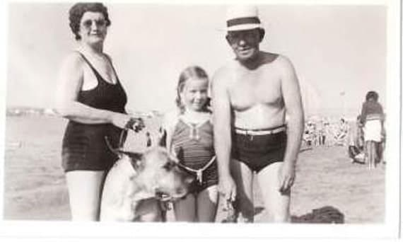 Vintage Black & White Photograph, Family at the beach, Summer Time, Sand, Water, 1950's Mom, Dad, Daughter