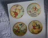 Vintage Style Baby Stickers - Baby Shower Invites - Winnie The Pooh and Piglet