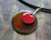 Enamel Jewelry, Red and Brown Pendant, Copper Enamel Necklace, Stacked Circle Jewelry, Prairie Style