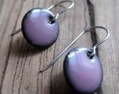 Short Purple Dangle Earrings, Aubergine Copper Enamel Jewelry, Sterling Silver French Hook Earwires, Magenta, Handmade Earrings