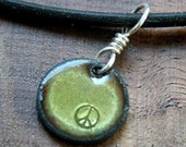 Peace symbol Copper Enamel Necklace pendant