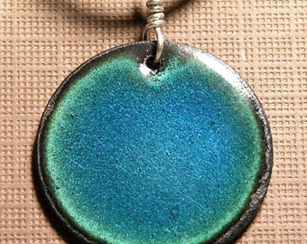Blue Necklace, Copper Enamel Jewelry, Circle, Disc, Electric Sapphire Blue, Prairie Style, Modern Necklace