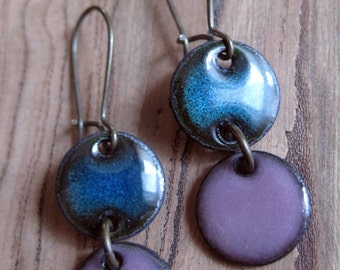 Blue and Aubergine enamel earrings copper nickle free kidney earwire