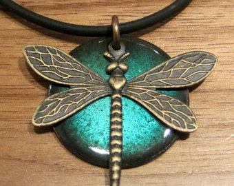 Dragonfly Enamel Necklace Handmade