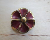 Insouciant Studios Burgundy Vintage Enamel Flower Brooch Pin