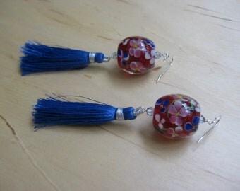 Insouciant Studios Lantern Earrings Floral Lampwork and Tassel