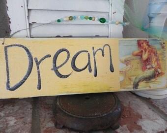 Vintage Mermaid Dream Wood Sign Sunny Yellow and Aqua LOTS of glitter shells Reclaimed Wood