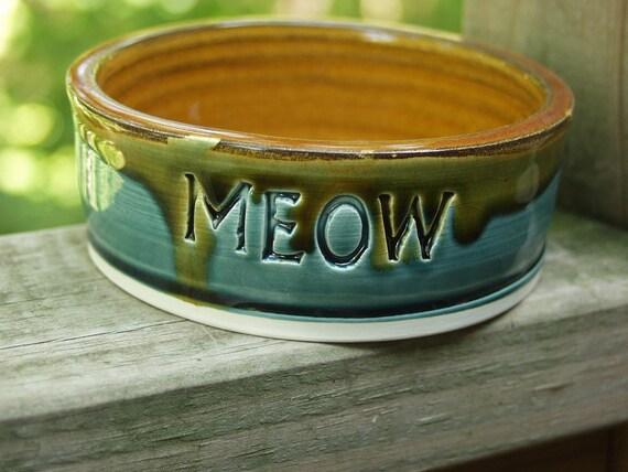 READY to Ship Pottery Dog Cat Bowl MEOW Pet Feeding Water Dish/Bowl Small