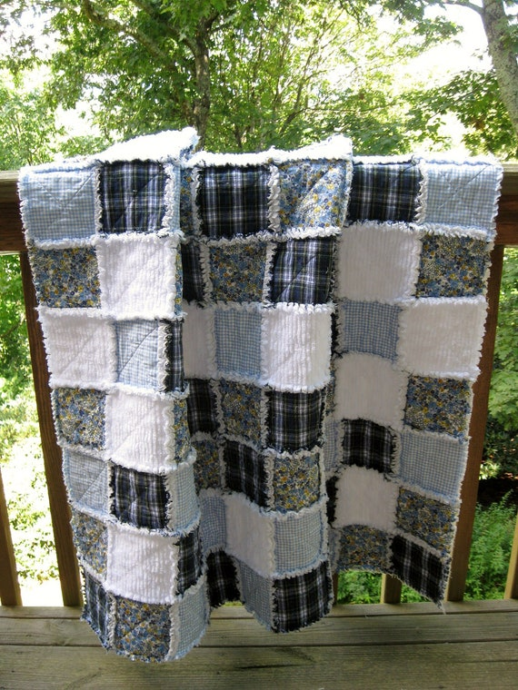 Patchwork Rag Quilt in Blues