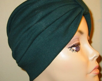 Green  Knit Turban, Chemo Hat, Snood, Womens Hat