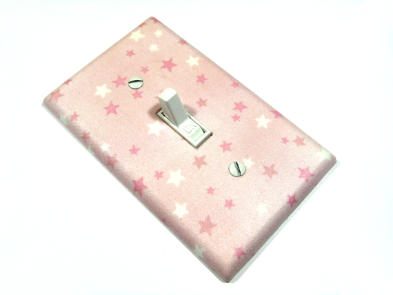 Pink and White Stars Light Switch Cover Baby Girl Nursery Decor Girl Bedroom Pink Nursery Decor Switchplate Switch Plate