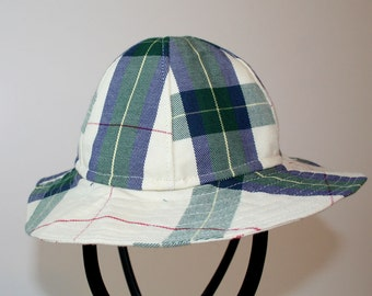 OOAK Child's Sun Hat Recycled Green Plaid Cotton Size 12-24 months