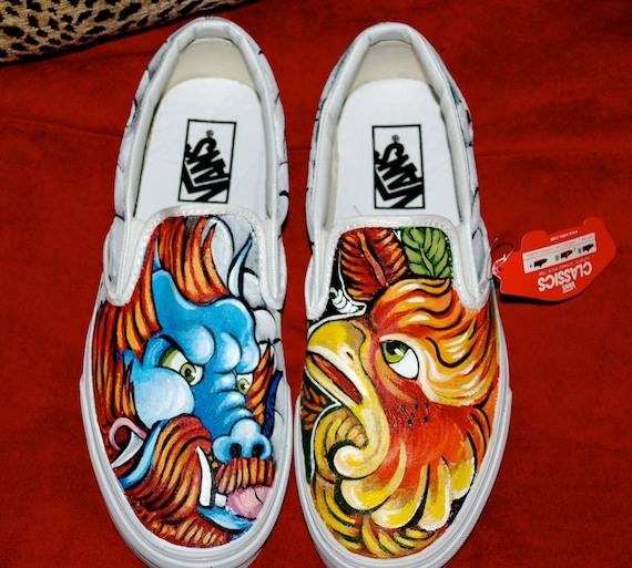 Custom women's or men's Slip on Vans sneakers hand painted asian dragon phoenix oni ANY size ANY design pin up tattoo