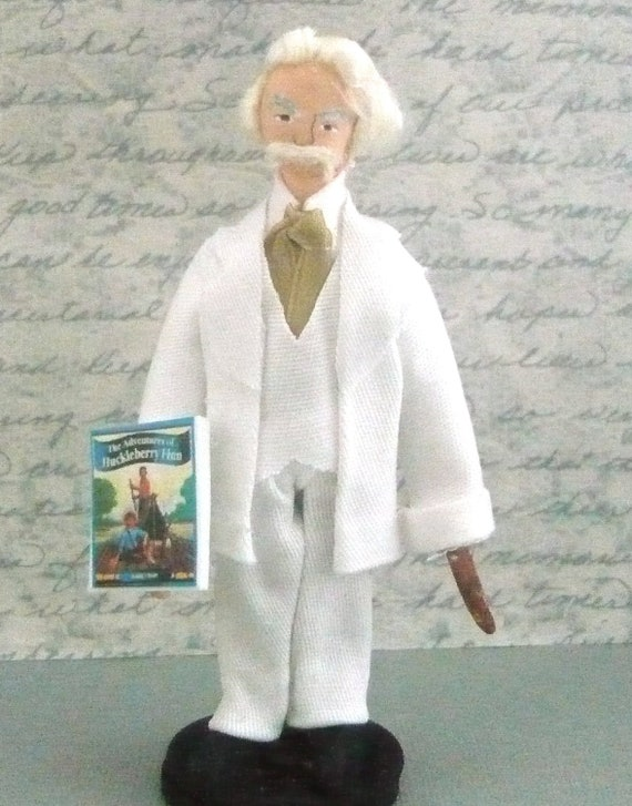 Mark Twain Doll Miniature Art Collectible
