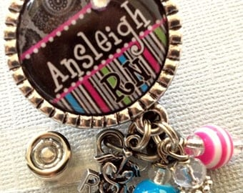 Personalized RN ID Badge Reel -nurse, pa, cmt, paisley, stripe, alligator clip, medical symbol, nurse graduate, L&D RN