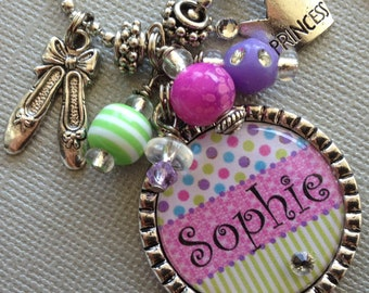 PERSONALIZED necklace- Princess Crown, Charm Necklace - Dance, Ballet slippers, Sister Gift, dance recital, dance princess