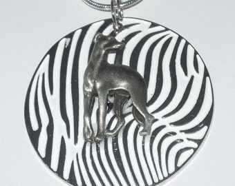 Pewter Greyhound Dog on Silvr and White Pendant Necklace
