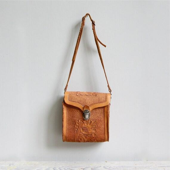 Vintage Tooled Leather Purse  / Hand Bag, Leather, Pocketbook