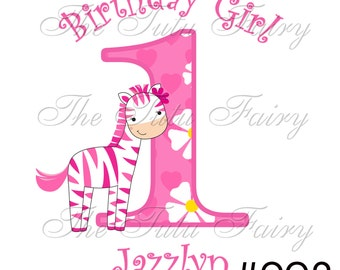 pink zebra birthday girl shirt name age 1st first 2nd 3rd 4th 2t 3t 4t 12 18 m