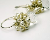 Crystal Quartz Pearl and Sterling Silver Cluster Earrings