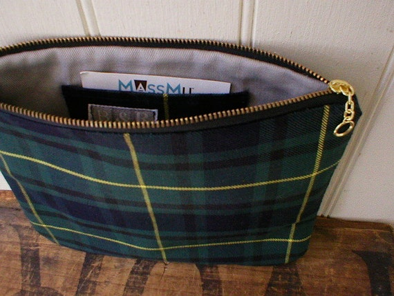 SALE Forest tartan utility pouch, clutch - water resistant cotton - eco vintage fabrics