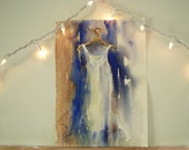 original watercolor painting - white cotton summer dress - alisa wilcher